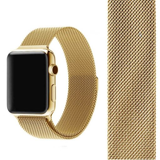 Milanese Loop Gold with Band V2 510x510 1 - بند میلانس  اپل واچ 42/44mm