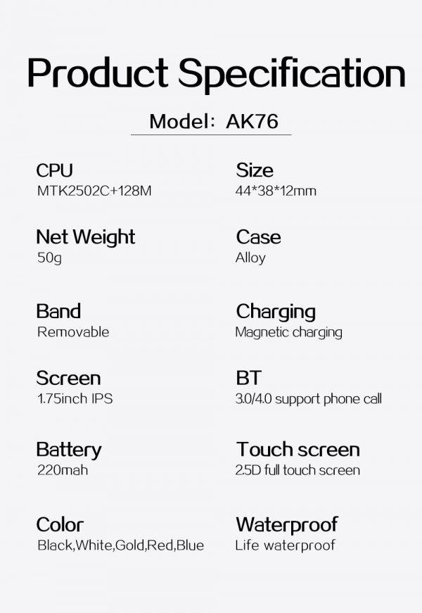 ساعت هوشمند مدل AK76